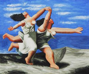 Two Women Running on the Beach - Oil Painting Reproduction On Canvas