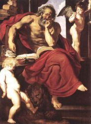 St Jerome in His Hermitage - Peter Paul Rubens Oil Painting