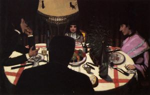 Dinner by Lamplight -Felix Vallotton Oil Painting