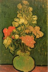 Vase with Rose-Mallows - Vincent Van Gogh Oil Painting