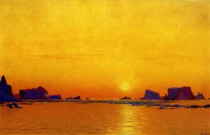 Ice Floes under the Midnight Sun - William Bradford Oil Painting