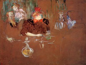 Dinner at the House of M. and Mme. Nathanson - Henri De Toulouse-Lautrec Oil Painting