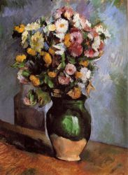Flowers in an Olive Jar - Paul Cezanne Oil Painting