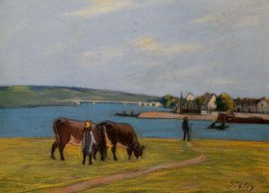 Cows by the Seine at Saint-Mammes - Alfred Sisley Oil Painting