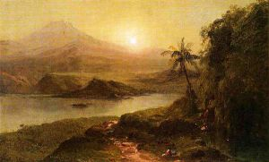 Mountain Landscape with River, Near Philadelphia - Frederic Edwin Church Oil Painting