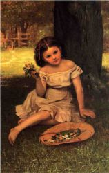 Young Girl with Flowers - John George Brown Oil Painting