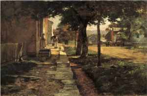 Street in Vernon - Theodore Clement Steele Oil Painting