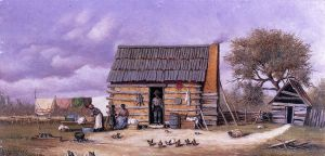 Log Cabin with Stretched Hide on Wall - William Aiken Walker Oil Painting