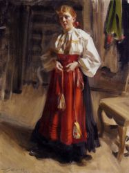 Girl in an Orsa Costume - Oil Painting Reproduction On Canvas