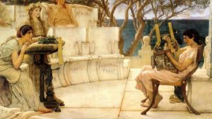Sappho and Alcaeus - Sir Lawrence Alma-Tadema oil painting