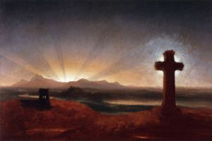Cross at Sunset - Thomas Cole Oil Painting