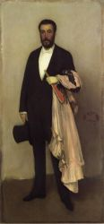 Arrangement in Flesh Colour and Black: Portrait of Theodore Duret - James Abbott McNeill Whistler Oil Painting