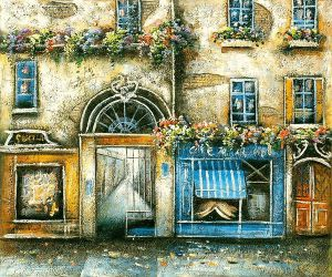 Sidewalk Shops with Gated Alley - Oil Painting Reproduction On Canvas