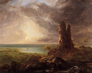 Romantic Landscape with Ruined Tower - Thomas Cole Oil Painting