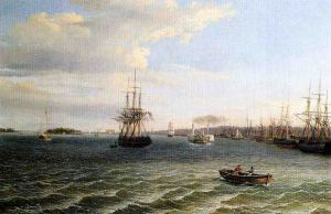 View of Philadelphia, Looking South on the Delaware River - Thomas Birch Oil Painting