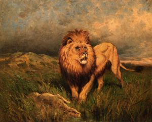 Lion and Prey - Rosa Bonheur Oil Painting
