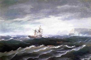 Ship at Sea - Thomas Birch Oil Painting