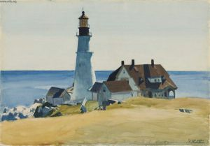 Lighthouse and Buildings - Edward Hopper Oil Painting
