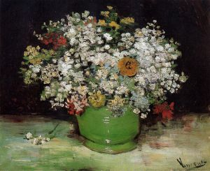 Vase with Zinnias and Other Flowers - Vincent Van Gogh Oil Painting