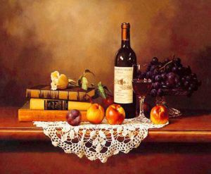 Several Books, a Bottle of Red Wine and Some Fruits on the Table - Oil Painting Reproduction On Canvas