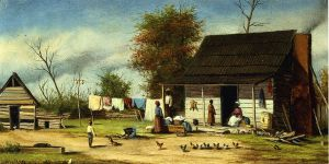 Negro Cabiin with Two-Pole Chimney - William Aiken Walker Oil Painting