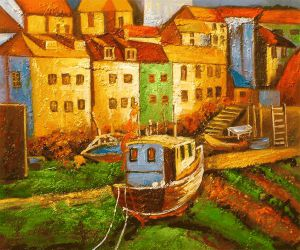 Docking Tug - Oil Painting Reproduction On Canvas