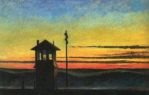 Railroad Sunset - Edward Hopper Oil Painting