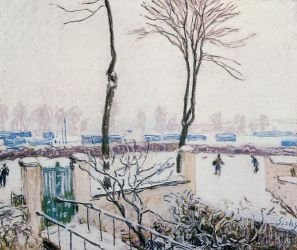 Approach to the Railway Station - Alfred Sisley Oil Painting