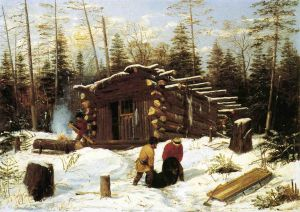 Bringing Home Game: Winter Shanty at Ragged Lake - Arthur Fitzwilliam Tait Oil Painting