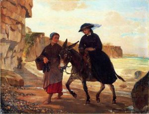 The Tourist and the Fisherwoman - Henry Bacon Oil Painting