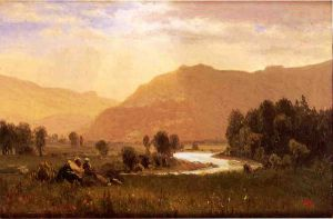 Figures in a Hudson River Landscape - Albert Bierstadt Oil Painting