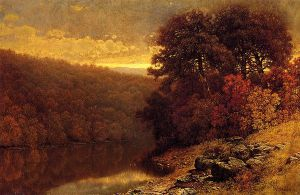 October on Great Otter Creek, Vermont - William Mason Brown Oil Painting