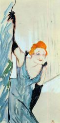 Yvette Guilbert Taking a Curtain Call - Henri De Toulouse-Lautrec Oil Painting