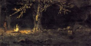 Campfire, Yosemite Valley - Albert Bierstadt Oil Painting