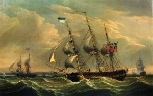 Full Rigged Ships and a Brig off the Coast of England - Robert Salmon Oil Painting