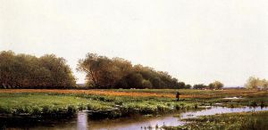 Hunter in the Meadows of Old Newburyport, Massachusetts - Alfred Thompson Bricher Oil Painting
