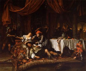 Samson and Delilah - Jan Steen oil painting