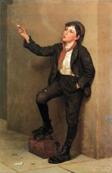 Taking a Break - John George Brown Oil Painting