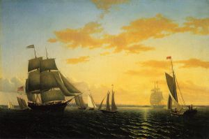 New Bedford Harbor at Sunset - William Bradford Oil Painting