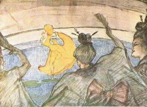 The Ballet 'Papa Chrysanthemem' - Henri De Toulouse-Lautrec Oil Painting