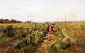 In the Berry Field - Theodore Clement Steele Oil Painting