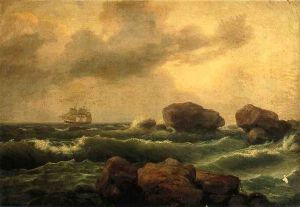 Seascape at Sunset - Thomas Birch Oil Painting