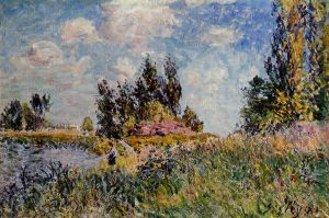 Landscape-The Banks of the Loing at Saint-Mammes - Alfred Sisley Oil Painting
