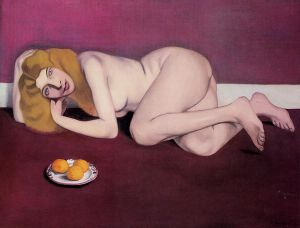 Nude Blond Woman with Tangerines - Felix Vallotton Oil Painting