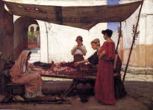 A Flower Stall - John William Waterhouse Oil Painting