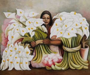 Vendedora de Alcatraces -Diego Rivera Oil Painting