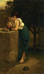 Etruscan Girl with Turtle - Oil Painting Reproduction On Canvas