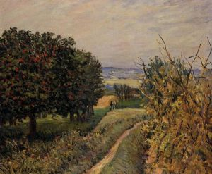 Among the Vines near Louveciennes - Alfred Sisley Oil Painting