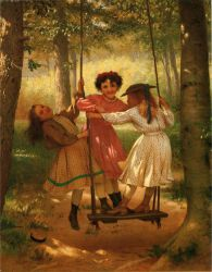 Three Girls on a Swing - John George Brown Oil Painting