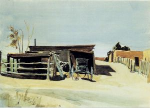 Adobes and Shed New Mexico - Edward Hopper Oil Painting